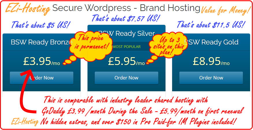 A hosting offer with an example of the Shared Hosting or WordPress Hosting shown via a costing table.