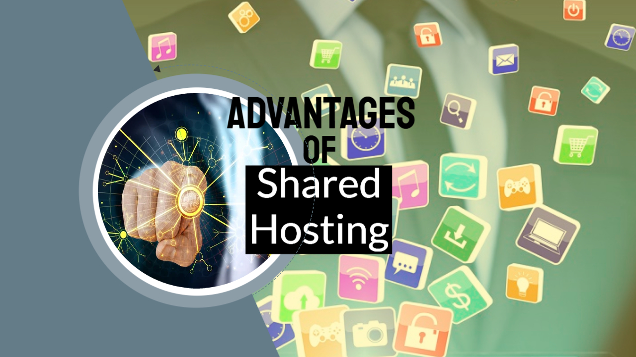 """Featured image with text: """"Advantages of shared hosting""""."""