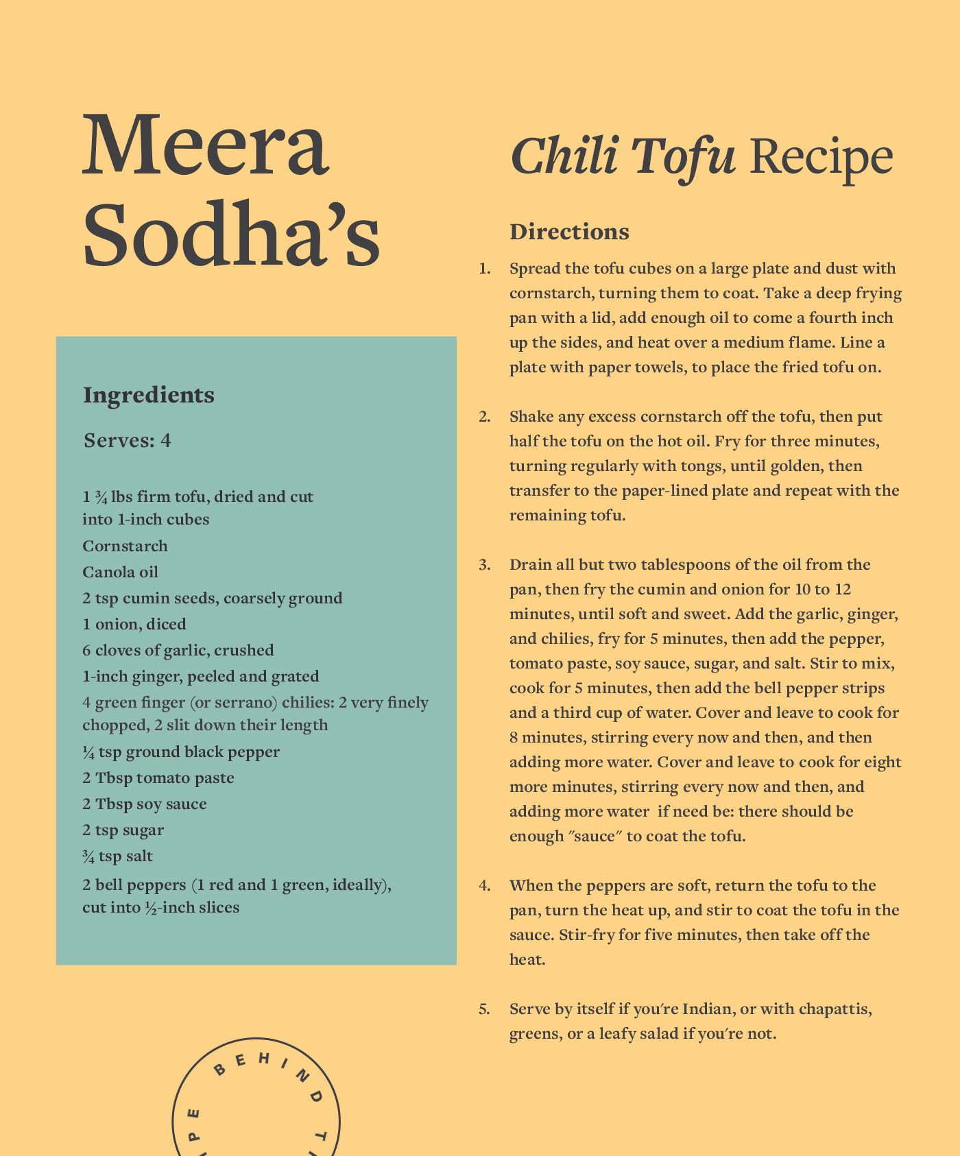 chili tofu recipe card