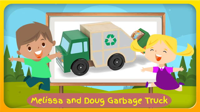 """Image bears the text: """"Melissa and Doug Garbage Truck""""."""