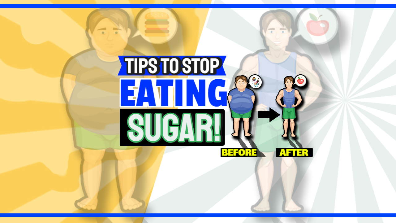"""Image text: """"Tips to stop eating sugar""""."""