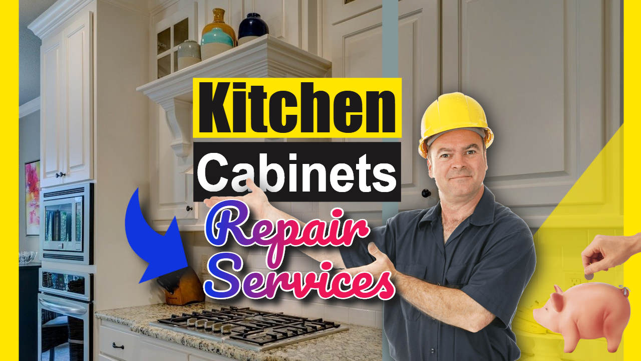 """Image text: """"Kitchen cabinet repair services""""."""